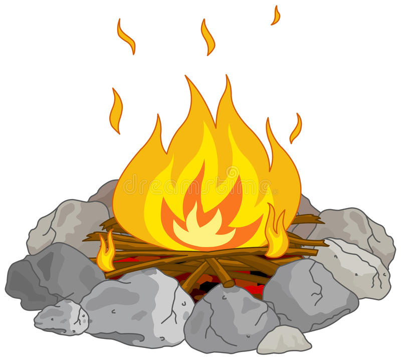 Campfire. Illustration of flame into fire pit vector illustration