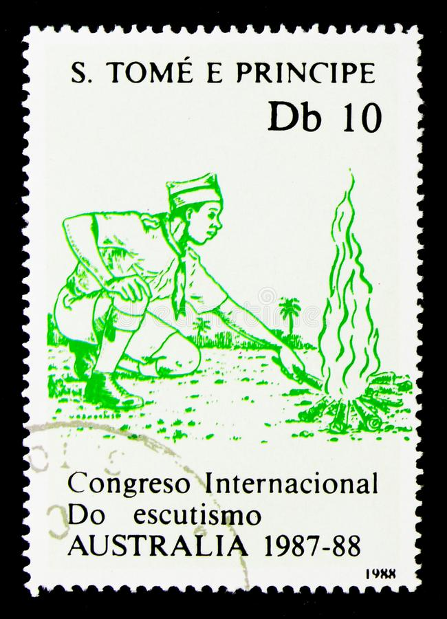 Campfire, International Boy Scouts Jamboree serie, circa 1988. MOSCOW, RUSSIA - NOVEMBER 26, 2017: A stamp printed in Sao Tome and Principe shows Campfire stock photo