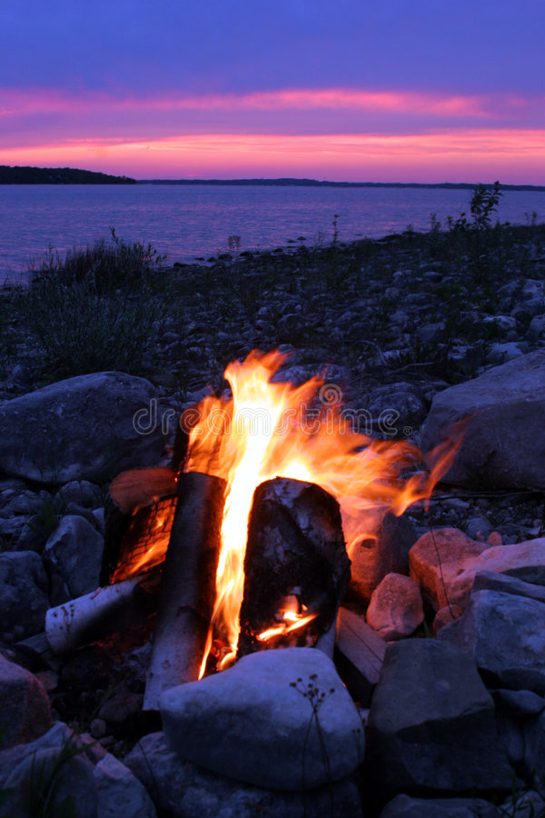 Campfire On The Lake royalty free stock photo