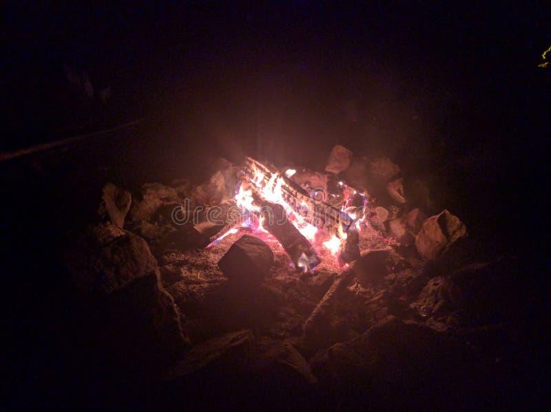 Campfire late night stock photo