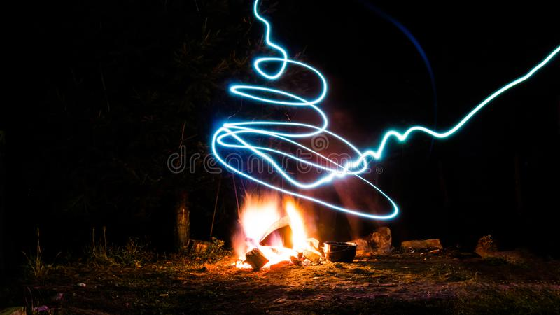 A campfire and light royalty free stock images