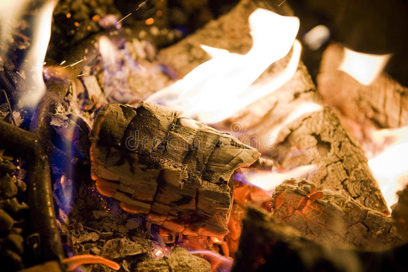 Campfire with Logs stock image