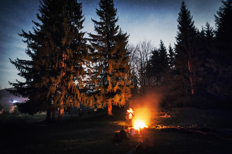 Campfire during night royalty free stock images