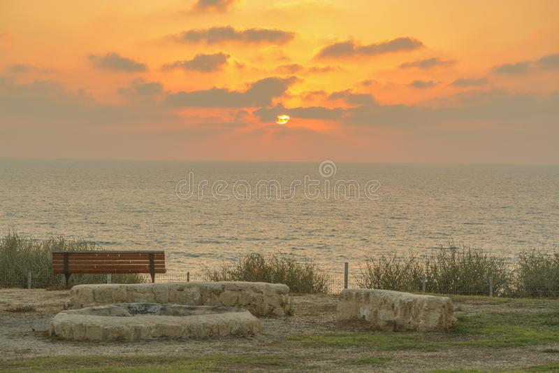 Campfire Pit overlooking the Mediterranean Sea in Israel.  royalty free stock photo