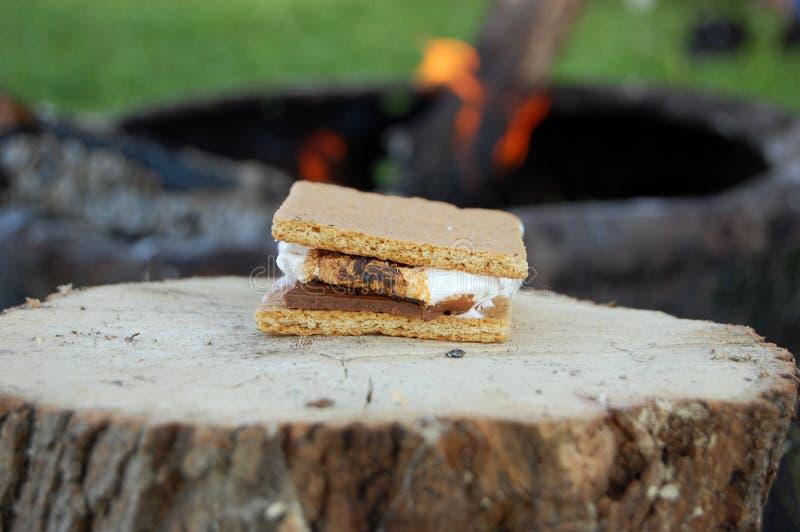 Campfire smores stock photo