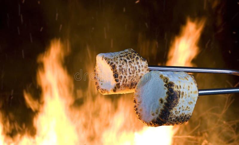 Campfire treat of marshmallows royalty free stock photo