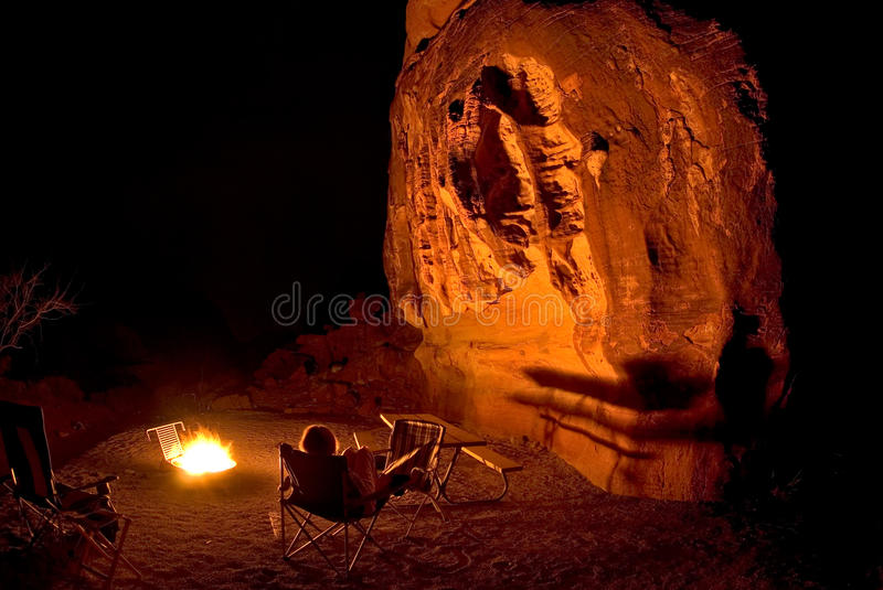 Campfire at Valley of Fire State Park. In the light of the campfire, Valley of Fire State Park, Nevada stock image