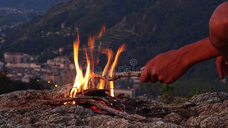 Campfire, Wilderness, Geological Phenomenon, Fire stock photos