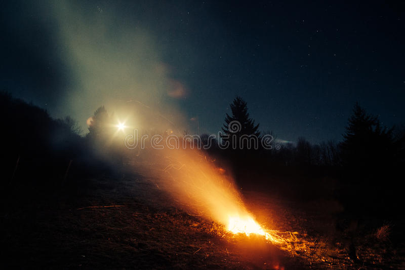 Campfire in woods at night. Campfire without people glowing in woods at night stock image