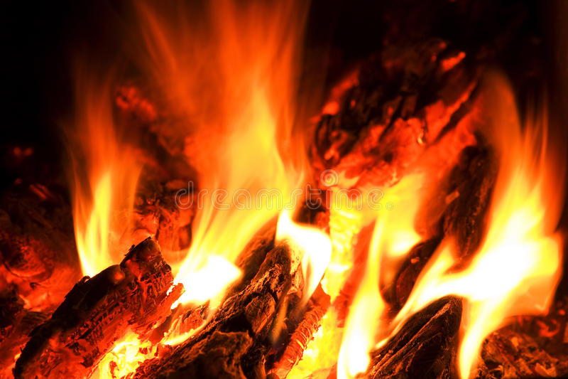 campfireflammavärme arkivfoto