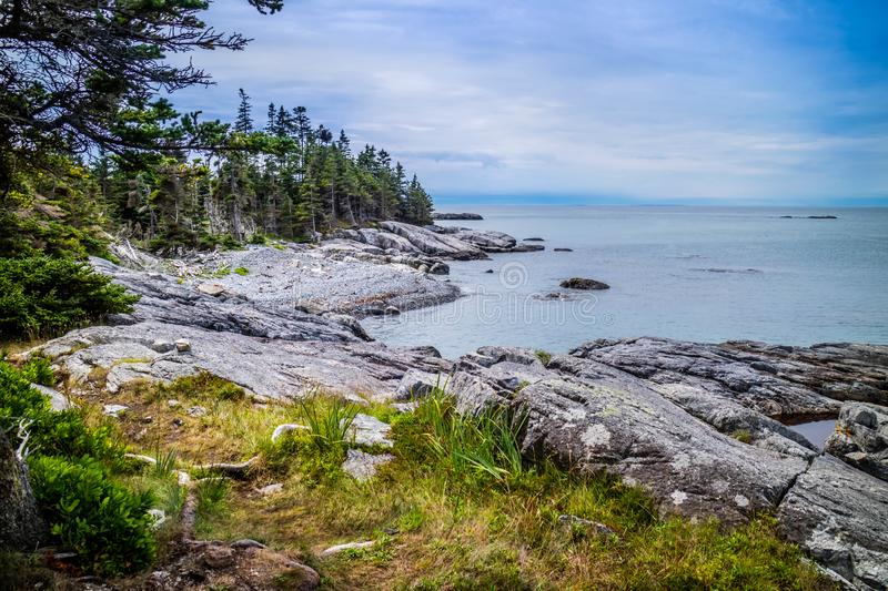 The lovely Duck Harbor Isle au Haut in Acadia National Park, Maine stock photos