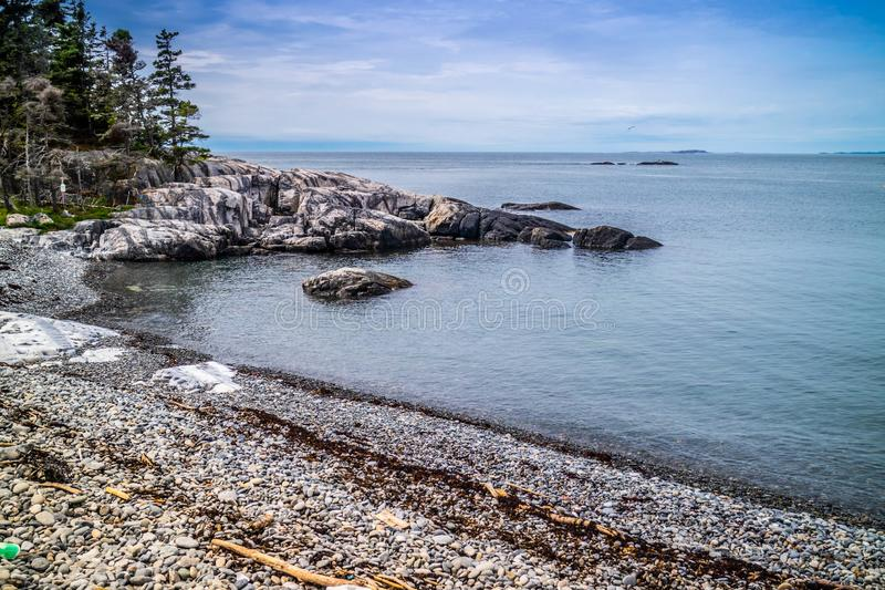 The lovely Duck Harbor Isle au Haut in Acadia National Park, Maine royalty free stock photo