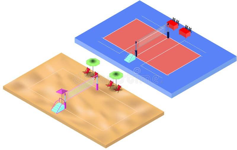Campi da giuoco isometrici di beach volley e di pallavolo con il posto dei giudici e della rete royalty illustrazione gratis
