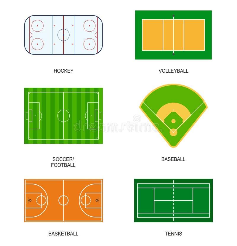 Campi di sport: hockey, pallavolo, calcio, calcio, baseball, pallacanestro e tennis illustrazione vettoriale