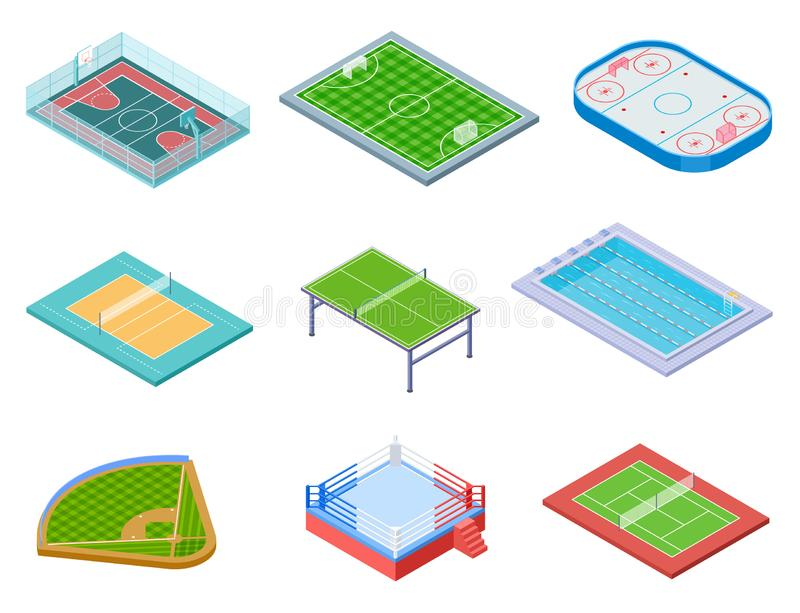 Campi di sport isometrici Insieme di vettore dell'hockey 3d di tennis di pallavolo di baseball di area dell'acqua di calcio di pa illustrazione vettoriale