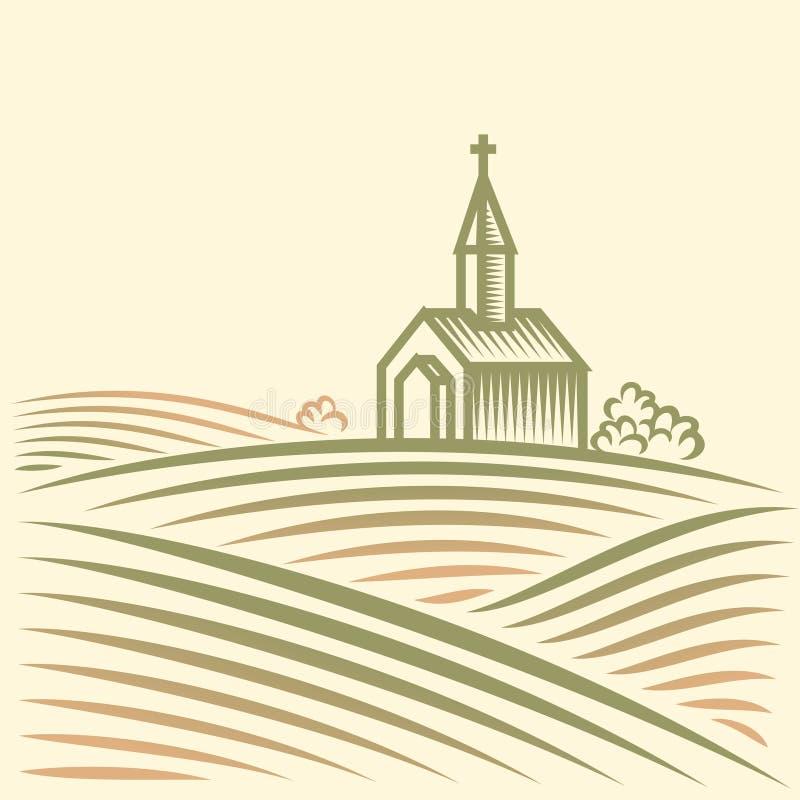 Campi e chiesa immagini stock