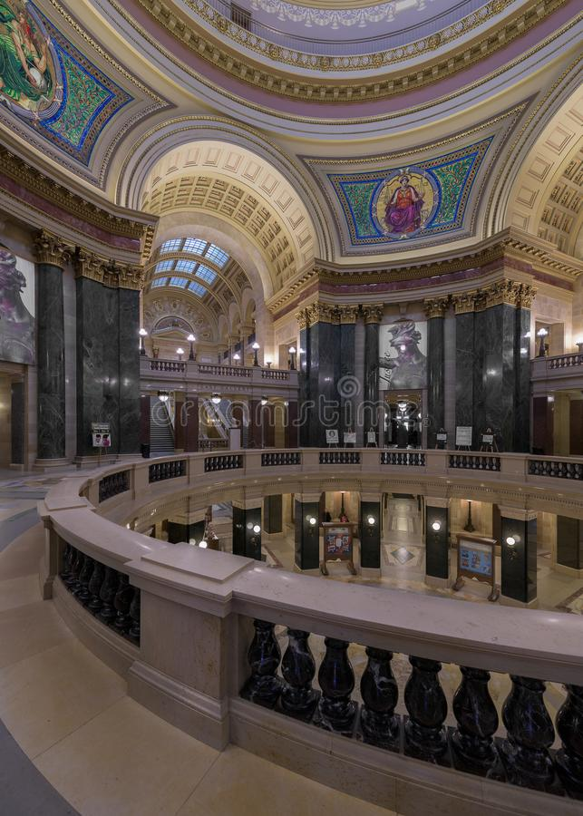 Campidoglio dello stato di Wisconsin rotunda fotografia stock libera da diritti