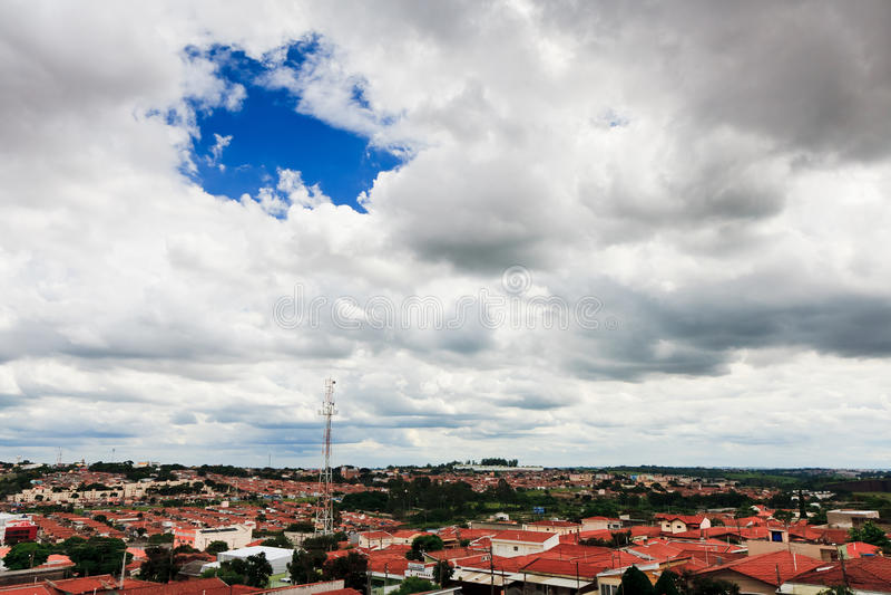 Campinas, Brazil. Clouds over Campinas,suburb area, Brazil stock photography