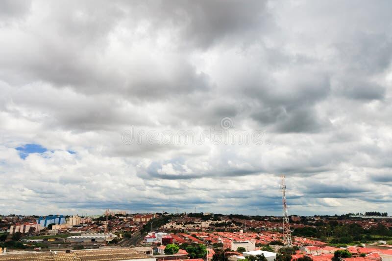 Campinas, Brazil. Clouds over Campinas suburb area, Brazil stock photo