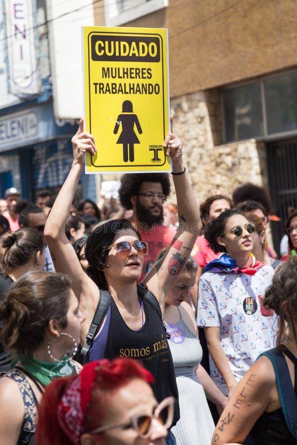 Campinas, São Paulo, Brésil - 29 septembre 2018 Jour national des démonstrations contre le candidat d'extrême droite Jair Bolson photos stock