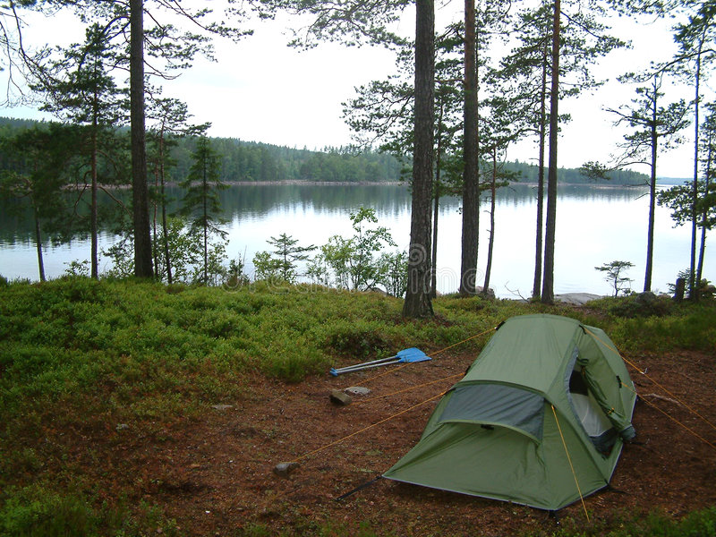 Camping. On canoe trip in Sweden stock photography