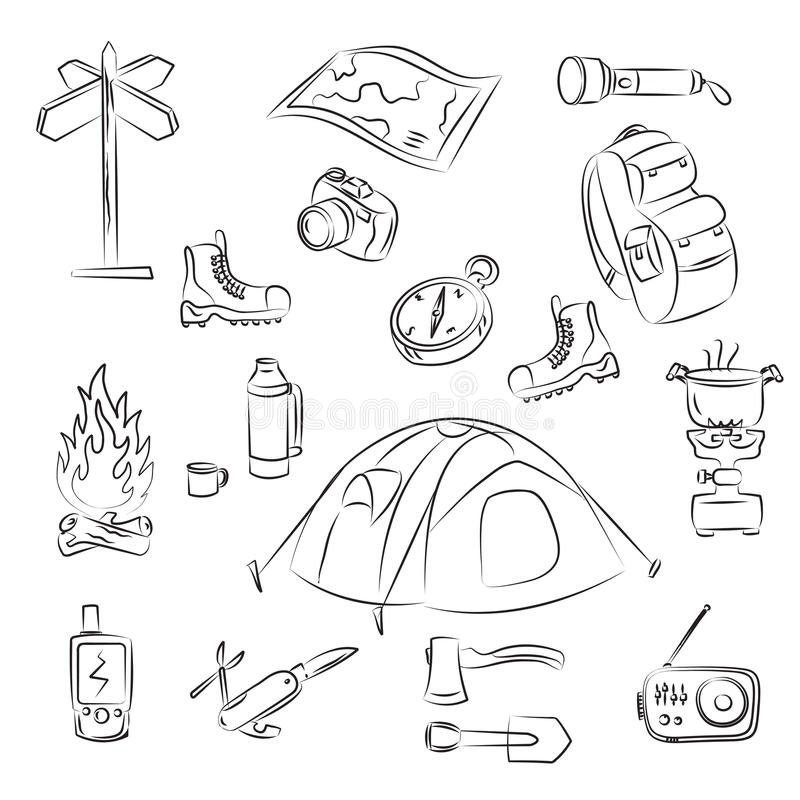 Download Camping stock vector. Illustration of knife, coffee, compass - 17127959