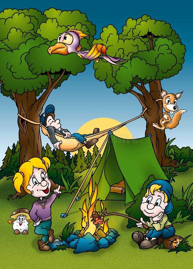 Camping royalty free illustration