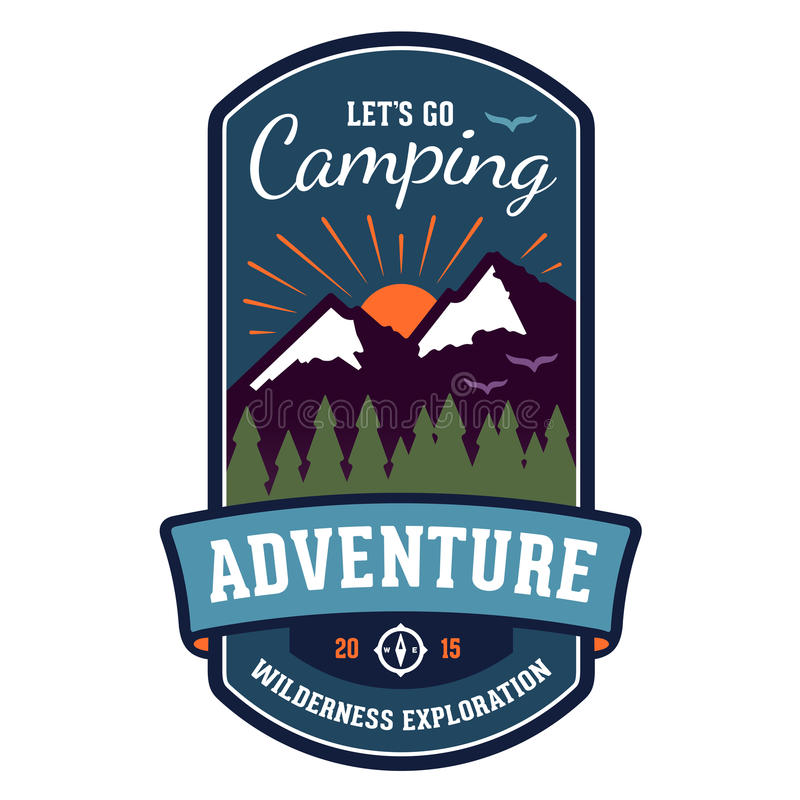 Camping adventure badge emblem royalty free illustration