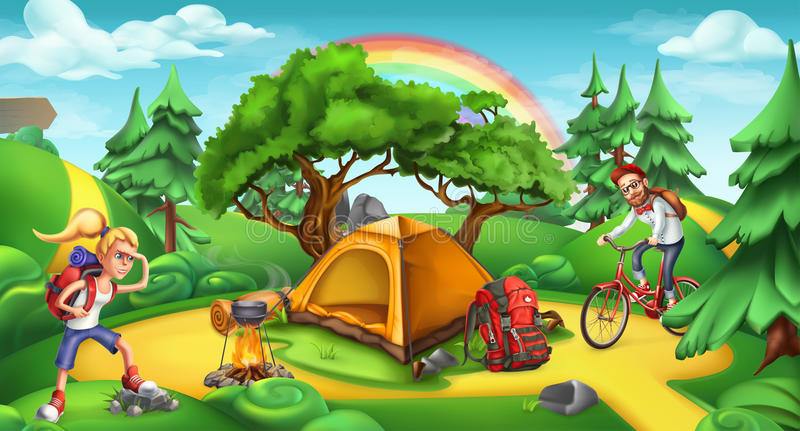 Camping and adventure time. Nature landscape vector panorama royalty free illustration