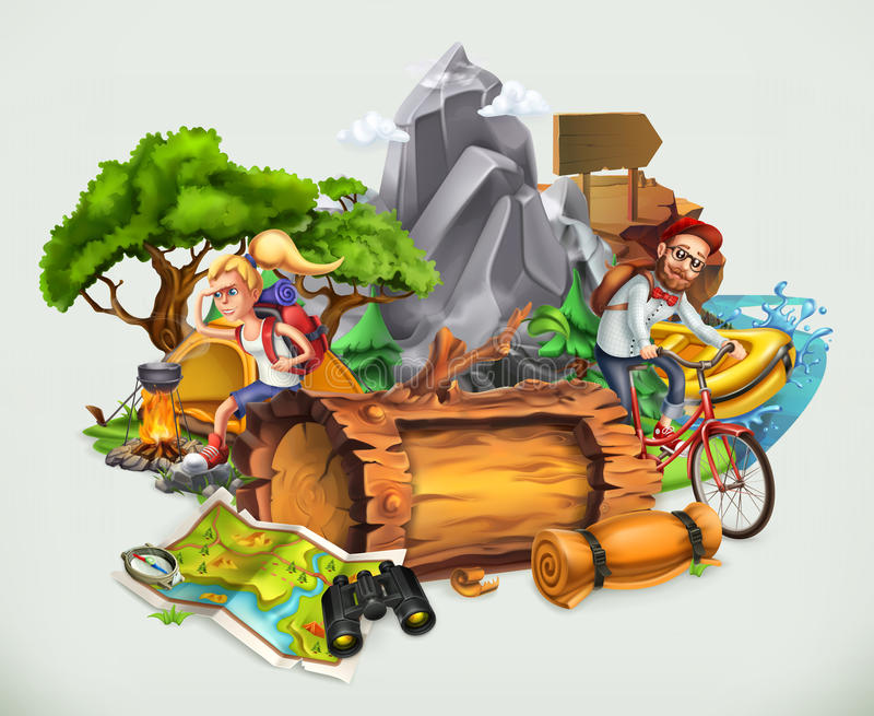 Camping and adventure, vector royalty free illustration