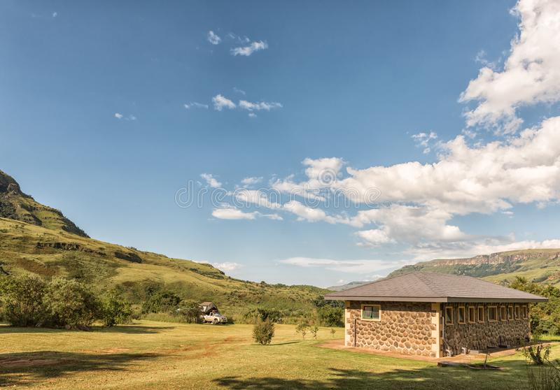 Camping area with ablution building at Injisuthi stock photos
