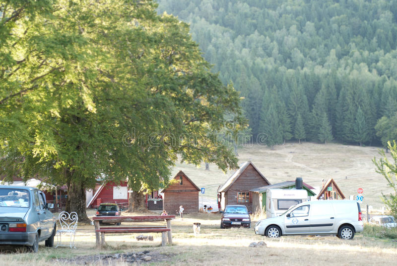 Camping area. Camping site in the morning in romania stock image