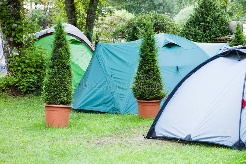 Camping area with tents. On green grass lawn royalty free stock photo