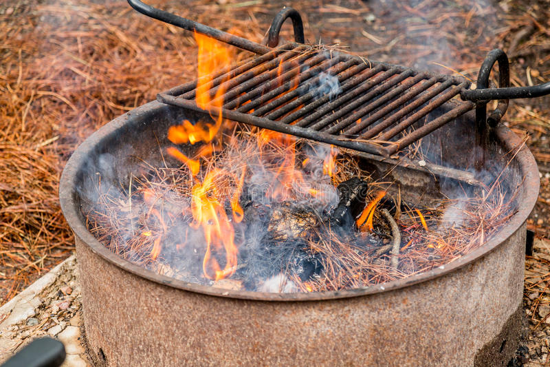 Camping in The Arizona Mountain Desert Landscape. An Amazing Arizona mountain landscape camping and grilling stock image