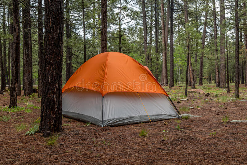 Camping in The Arizona Mountain Desert Landscape. An Amazing Arizona mountain landscape with a tent for camping royalty free stock images