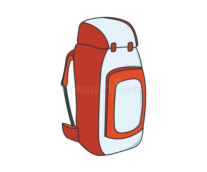 Camping Backpack Icon. Concept for Outdoor and Hike Trip. Stuff for Survival. Cartoon Style. Travel Symbol, Logo, Icon and Badge. vector illustration