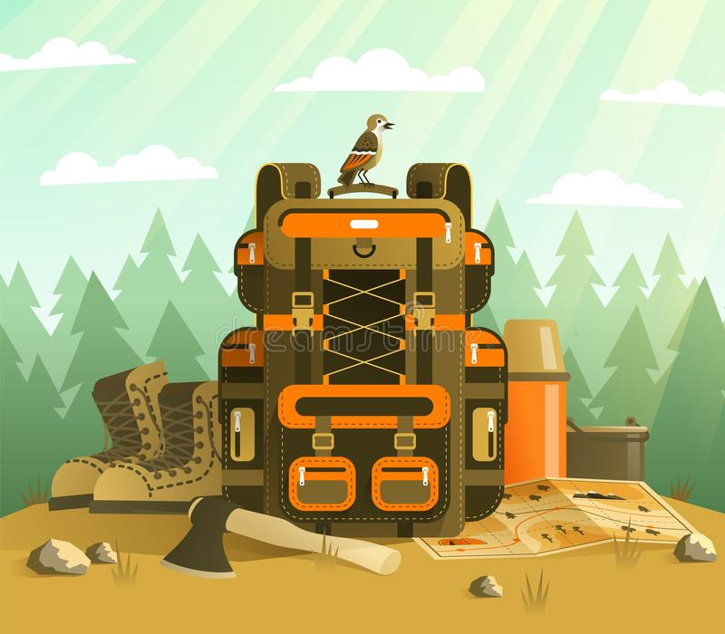 Camping backpack and tourist stuff vector illustration
