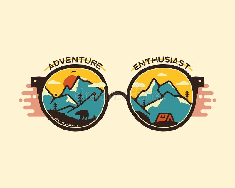 Camping badge illustration design. Outdoor logo with quote - Adventure enthusiast, for t shirt. Included retro mountains. Bear and tent. Unusual hipster style royalty free illustration