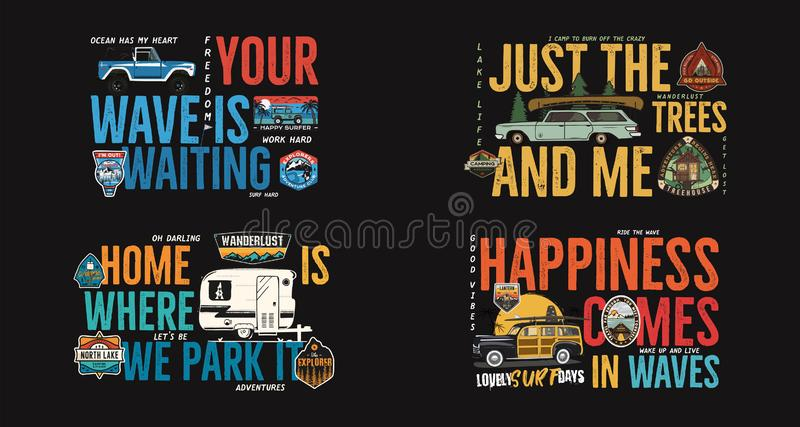 Camping badges designs set. Outdoor adventure logos with different quotes for t shirt. Included retro camper van trailer royalty free illustration