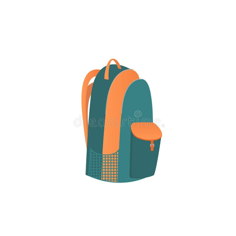 Camping bag. Knapsack. A school backpack with branches on a zipper, and pockets. vector illustration