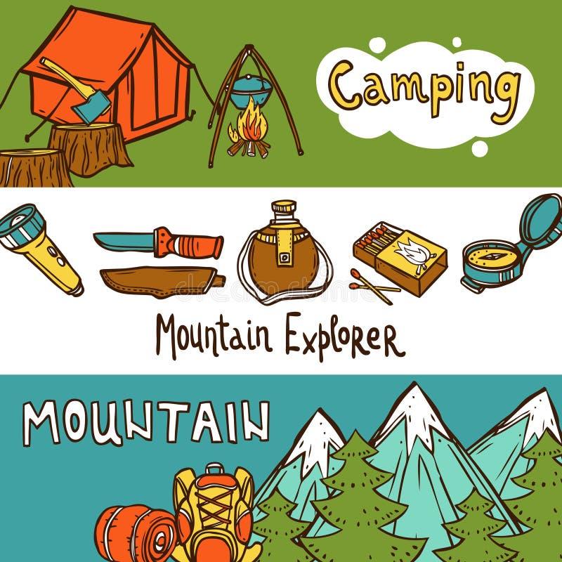 Camping Banners Horizontal vector illustration