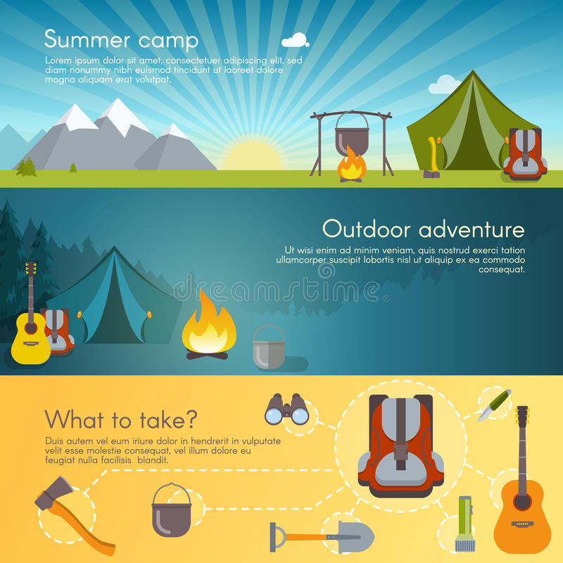 Camping Banners Set royalty free illustration