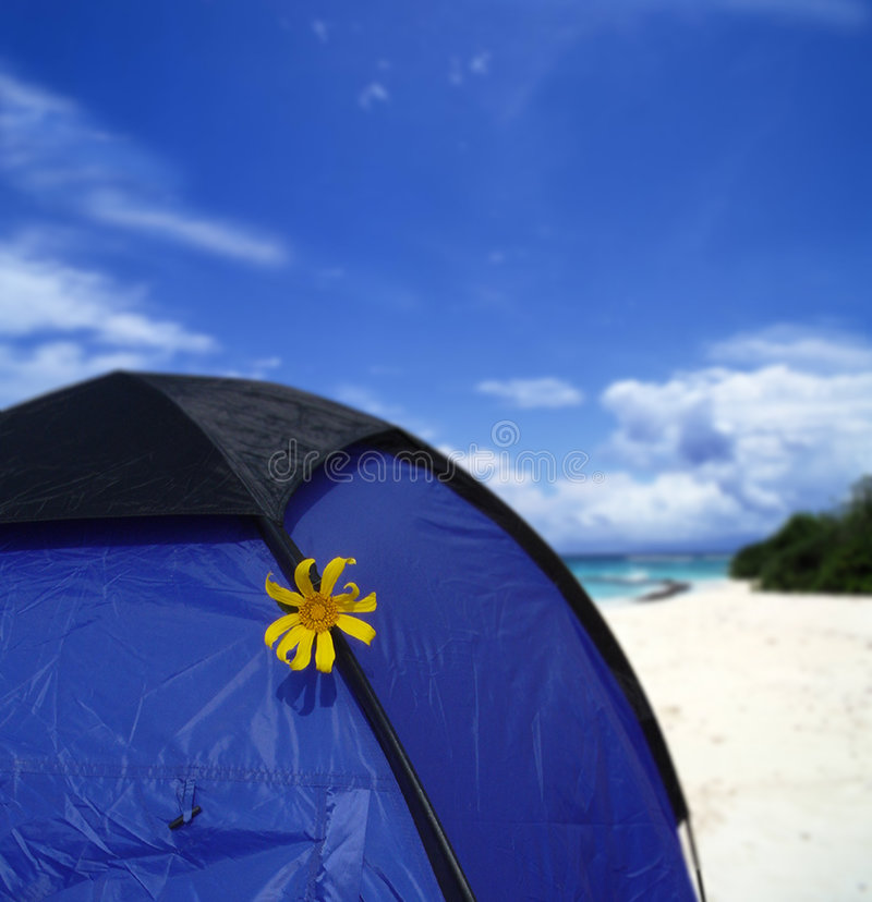 Camping on beach stock photography