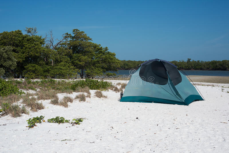 Camping on the Beach stock images