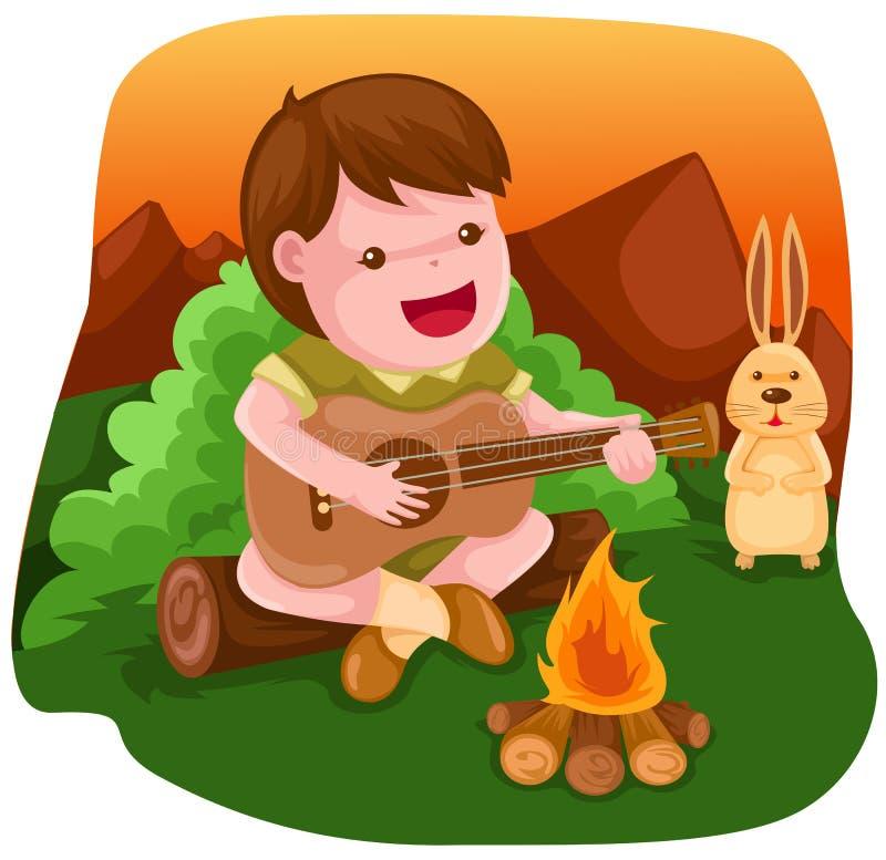 Camping boy playing guitar stock illustration