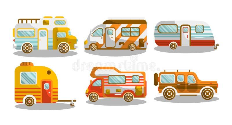 Camping bus or camper van vector illustration. Camping bus or camper van motorhome car or vehicle types. Holiday trip mobile accommodation of vintage or modern stock illustration