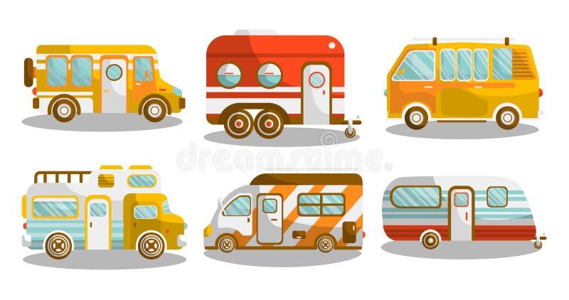 Camping bus or camper van vector illustration. Camping bus or camper van motorhome car or vehicle types. Holiday trip mobile accommodation of vintage or modern royalty free illustration