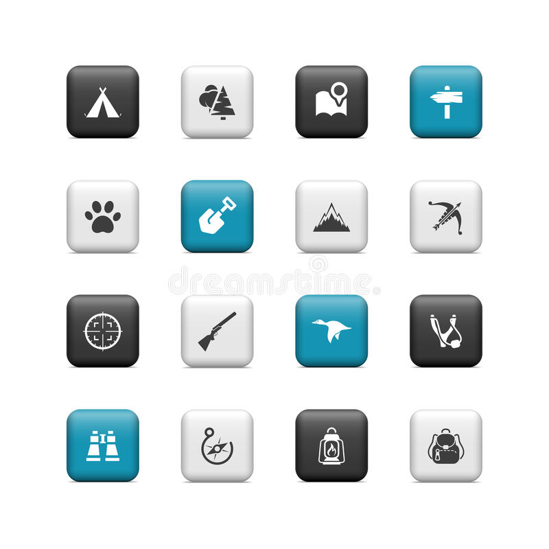 Camping buttons stock illustration