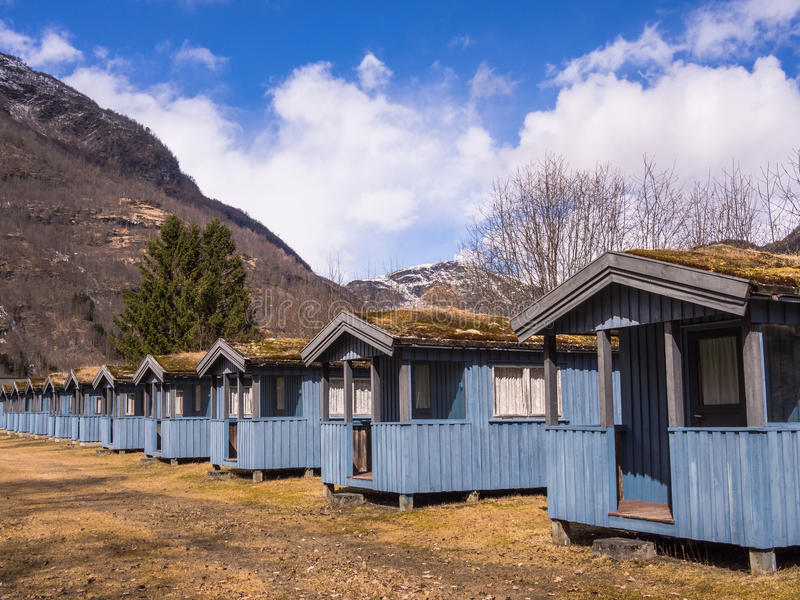 Camping Cabins in the Mountains. A line of basic camping cabins on a camp site in the mountains. Skjolden, Norway stock photos
