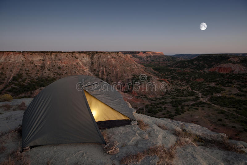 Camping at the Canyon. With light in tent stock photography